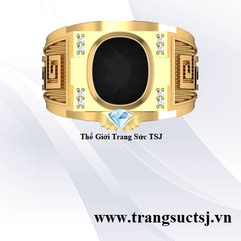 Nhẫn Phong Thủy Nam Mệnh Mộc Mặt Đá Sapphire Đen