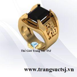 Nhẫn Chữ Phúc Nam Vàng 18k Đá Sapphire Đen