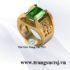 Nhẫn Nam Hình Chữ Phúc Đá Sapphire Xanh Lá