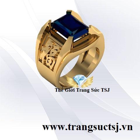 Nhẫn Chữ Phước 18K Đá Sapphire Xanh Bích