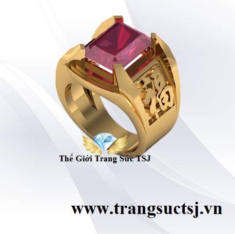 Nhẫn ĐeoTay Nam Vàng 18k Đá Ruby