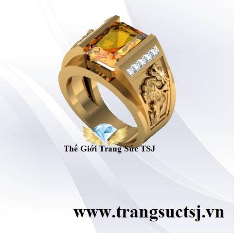 Nhẫn Nam Cao Cấp Hình Tỳ Hưu Vàng 18k Đá Citrine Vàng