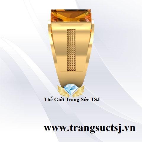 Nhẫn Nam Citrine Vàng Mệnh Kim, Mệnh Thổ