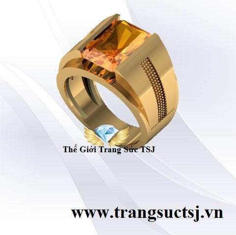 Nhẫn Nam Đá Citrine Vàng Đẹp Sang Trọng - Trang Sức TSJ