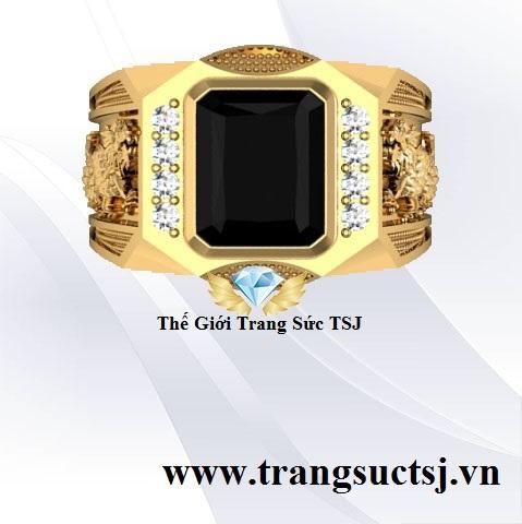Nhẫn Nam Đá Sapphire Đen Khắc Hình Rồng