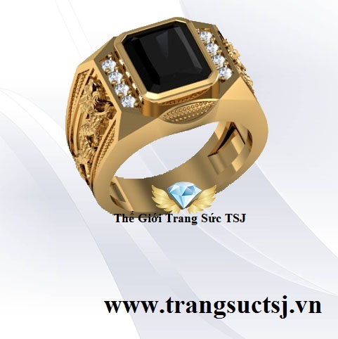 Nhẫn Nam Rồng Vàng 18k Đẹp Đá Sapphire Đen