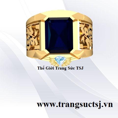 Nhẫn Nam Sapphire Xanh Bích Vàng 18k