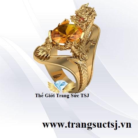Nhẫn Rồng Đá Citrine Vàng