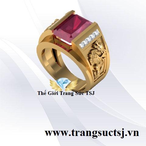 Nhẫn Ruby Nam Hình Tỳ Hưu Hợp Phong Thủy - Trang Sức TSJ