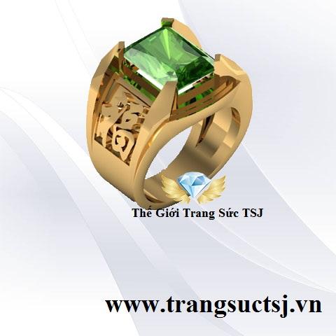 Nhẫn Sapphire Xanh Lá Khắc Chữ Phúc - Trang Sức TSJ