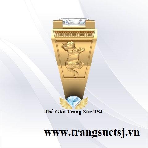 Nhẫn Topaz Trắng Đẹp Cho Nam Vàng 18k