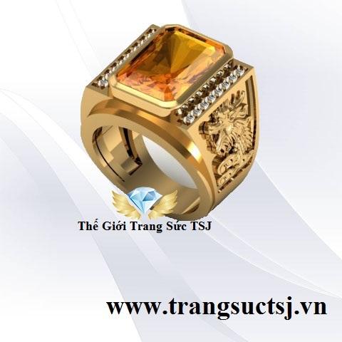 Nhẫn Citrine Vàng Nam Hình Rồng Đẹp Trang Sức TSJ