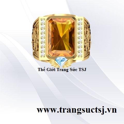 Nhẫn Citrine Vàng Sẫm Đẹp Thế Giới Trang Sức TSJ