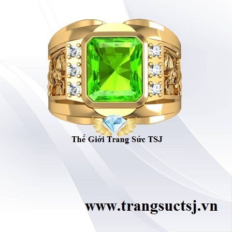 Nhẫn Đá Peridot Nam Đẹp Vàng 18k