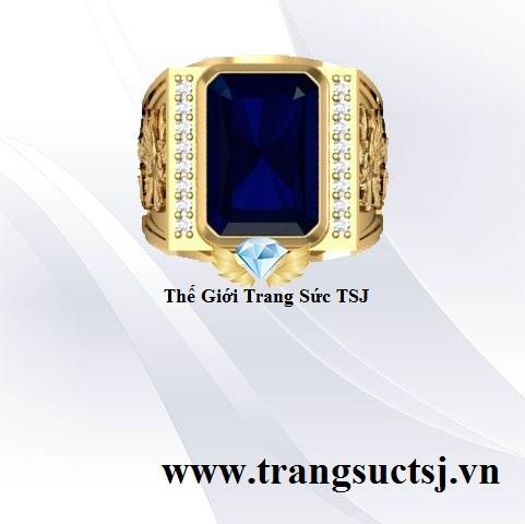 Nhẫn Mặt Sapphire Xanh Bích Trang Sức Vàng 18k