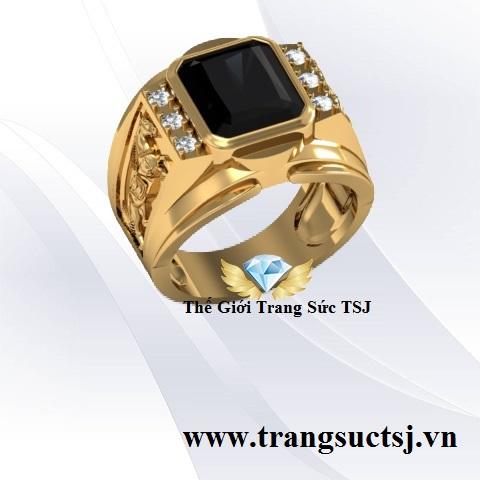 Nhẫn Nam Đá Sapphire Đen Sang Trọng - Trang Sức Phong Thủy