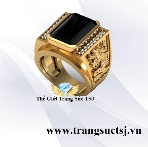 Nhẫn Nam Sapphire Đen Khắc Hình Rồng Trang Sức TSJ