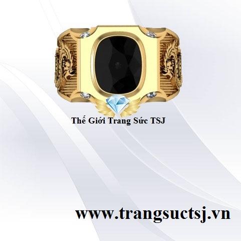 Nhẫn Nam Sapphire Đen Thiên Nhiên Hình Con Rồng