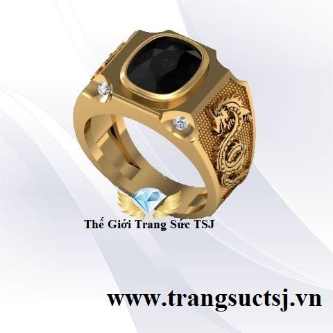 Nhẫn Nam Sapphire Đen Thiên Nhiên Hình Rồng