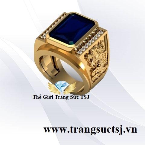 Nhẫn Nam Sapphire Xanh Bích Trang Sức 18k Nam Đẹp