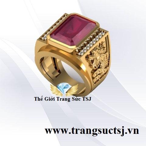Nhẫn Ruby Đỏ Nam Hình Rồng Trang Sức Phong Thủy