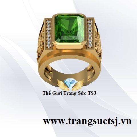 Nhẫn Sapphire Xanh Lá Đeo Tay Nam Đẹp Trang Sức TSJ