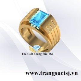Mẫu Nhẫn Nam Đẹp Đá Topaz Xanh - Trang Sức TSJ