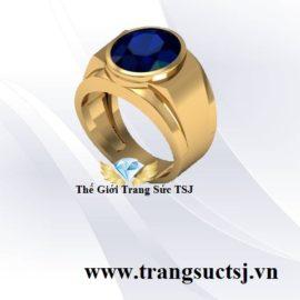 Mẫu Nhẫn Nam Doanh Nhân Đá Sapphire Xanh Bích