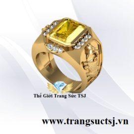 Nhẫn Nam Ất Sửu Mệnh Kim Mặt Đá Sapphire Vàng