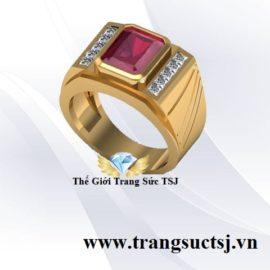 Nhẫn Ruby Đỏ Đẹp Cho Nam Vàng 18k