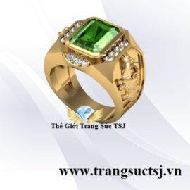 Nhẫn Vàng Nam Hình Sửu Đẹp Đá Sapphire Xanh Lá