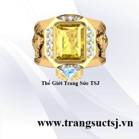 Nhẫn Đá Sapphire Vàng Nam Hiện Đại - Trang Sức Nam