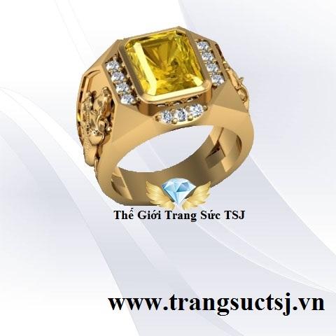 Nhẫn Nam Tuổi Sửu Đẹp Đá Sapphire Vàng