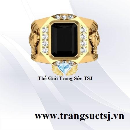Nhẫn Vàng Tây Nam 18k Đá Sapphire Đen