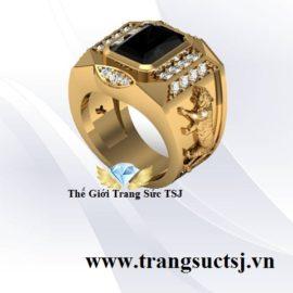 Nhẫn Cọp Đẹp Cho Nam Giới Mặt Đá Sapphire Đen