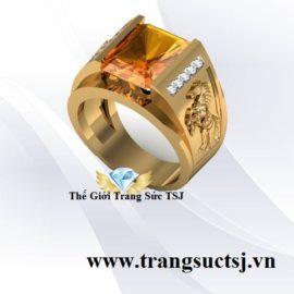 Nhẫn Nam Canh Ngọ Mệnh Thổ Mặt Đá Sapphire Vàng