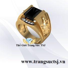 Nhẫn Nam Hình Sửu Mặt Đá Sapphire Đen Hợp Mệnh Mộc
