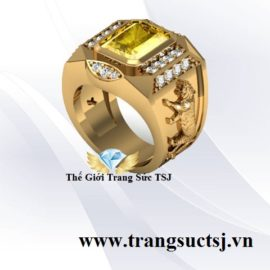 Nhẫn Nam Mệnh Kim Đá Sapphire Vàng Khắc Hình Cọp Trang Sức TSJ