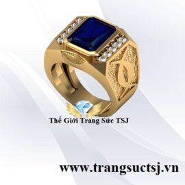 Nhẫn Nam Sang Trọng Đá Sapphire Xanh Bích