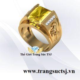 Nhẫn Nam Tuổi Ngọ Mệnh Kim Mặt Đá Sapphire Vàng