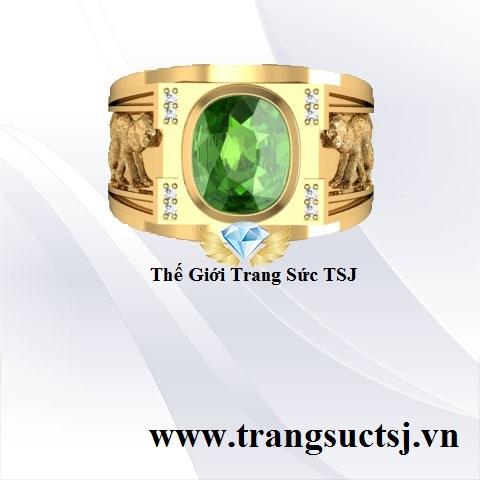 Nhẫn Nam Đá Sapphire Xanh Lục - Trang Sức Vàng