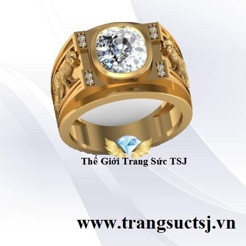 Nhẫn Nam Đẹp Vàng 18k Đá Topaz Trắng