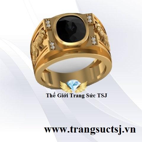 Nhẫn Nam Hình Khỉ Mệnh Mộc Đính Đá Sapphire Đen