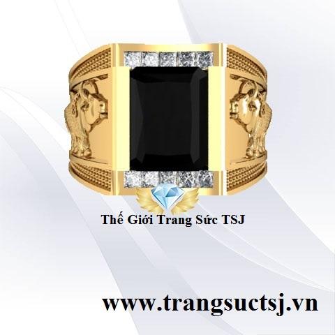 Nhẫn Nam Mặt Đá Đen - Trang SứcTSJ