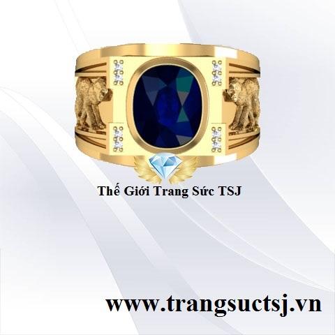 Nhẫn Nam Mặt Đá Sapphire Thiên Nhiên