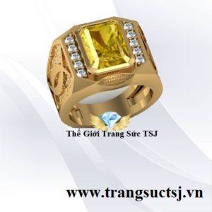 Nhẫn Nam Mặt Đá Vàng Hợp Phong Thủy