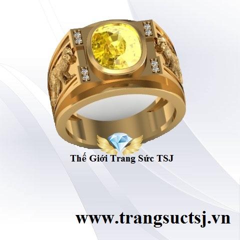 Nhẫn Nam Sapphire Vàng Hình Con Giáp