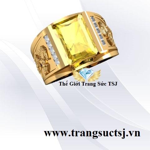 Nhẫn Nam Sapphire Vàng Khắc Hình Ngựa Đẹp