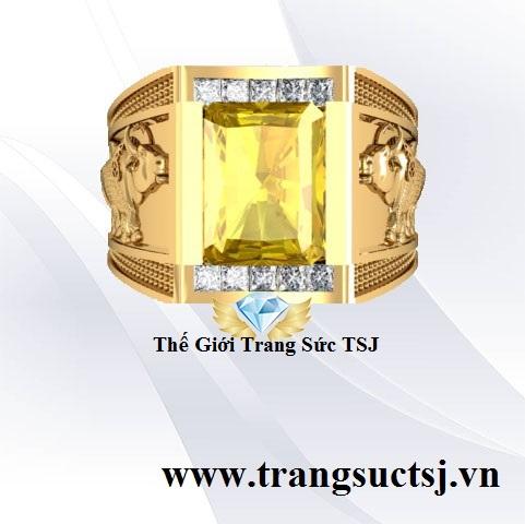 Nhẫn Nam Sapphire Vàng Khắc Hình Sửu