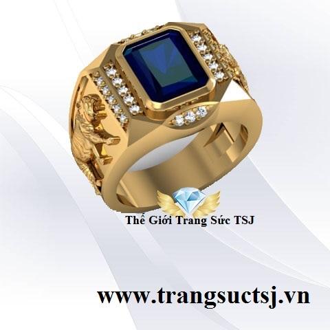 Nhẫn Nam Sapphire Xanh Bích Hình Cọp
